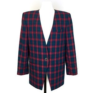 Gilmor Red Green Plaid Tartan Wool Blazer Jacket
